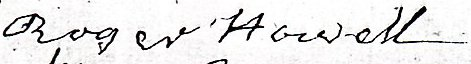 Roger Howell's signature as witness to relative's will